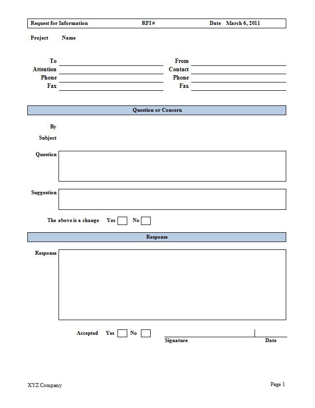 Request For Information Rfi Form  Cms