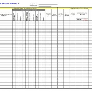 Submittal Log  Document Transmittal Form Template