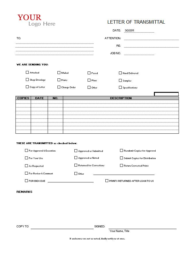 sample transmittal form template Happywinnerco